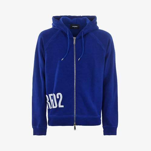 Dsquared2 Zipped Hooded Logo Sweatshirt - Blue