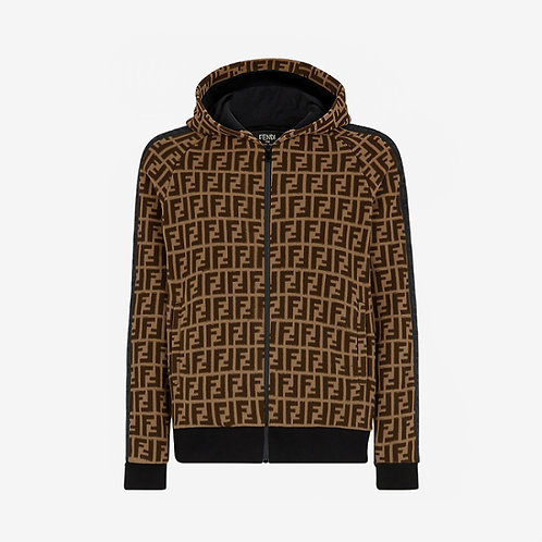Fendi FF Zipped Hooded Sweatshirt with Black Ribbon - Brown
