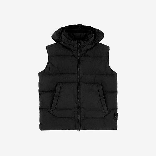 Stone Island Junior Padded Gilet Jacket with Hidden Hood - Black