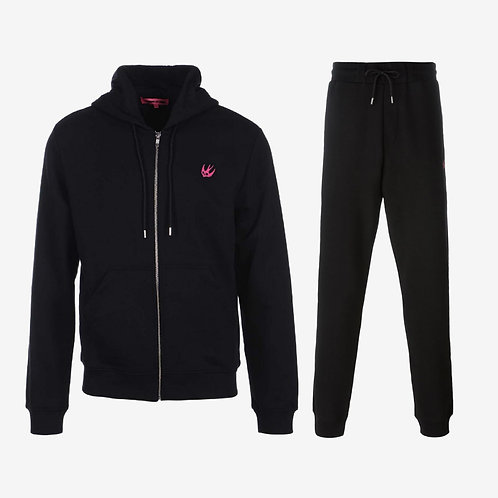 MCQ Swallow Classic Tracksuit with Pink Logo - Black