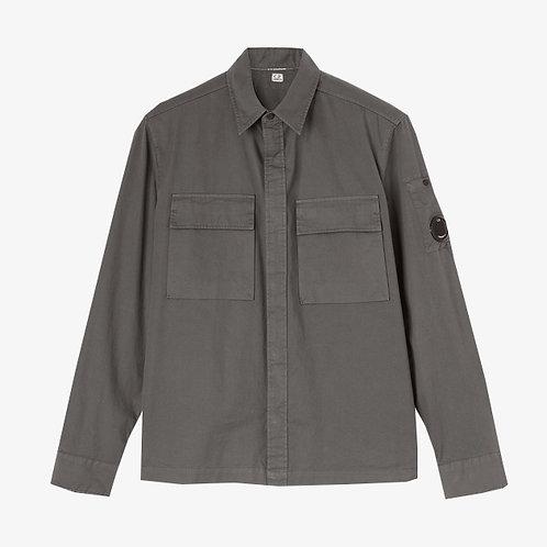 C.P. Company Emerized Gabardine Garment Dyed Lens Shirt - Gargoyle Grey