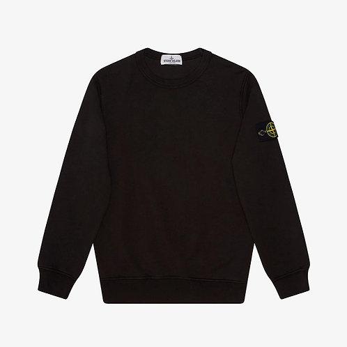 Stone Island Junior Garment Dyed Crew Sweatshirt - Black