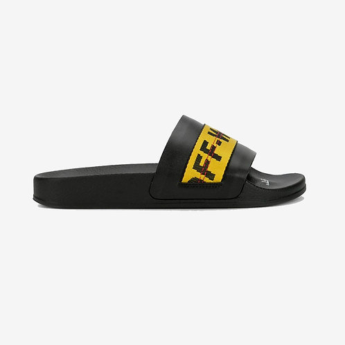 Off-White Industrial Stripe Sliders Black and Yellow New