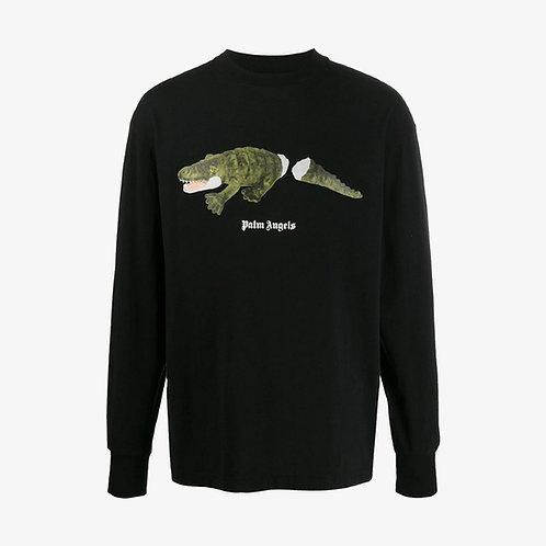 Palm Angels Crocodile Print Long Sleeve T-Shirt - Black