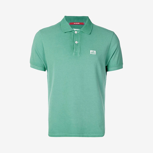 C.P. Company Re-Colour Piquet Polo Shirt with Embroidered Logo - Green Bay