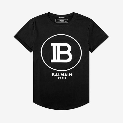 Balmain Paris Circle Logo T-Shirt - Black and White