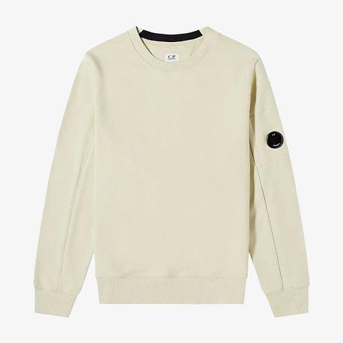 C.P. Company Diagonal Raised Fleece Lens Sweatshirt - Oyster Grey/Beige