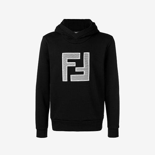 Fendi Mesh FF Logo Hoodie - Black