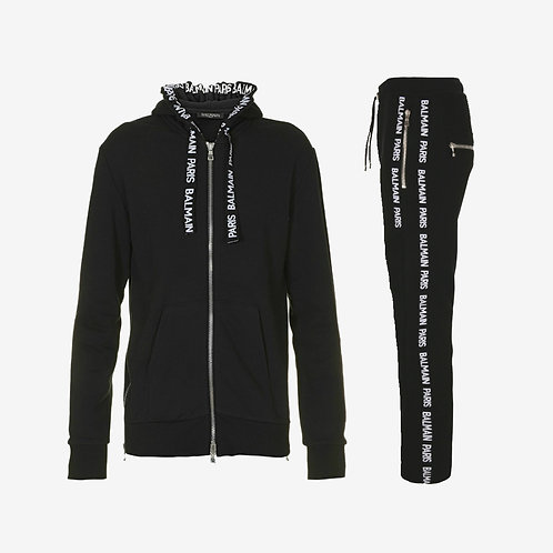 Balmain Classic Zip and Stripe Tracksuit - Black