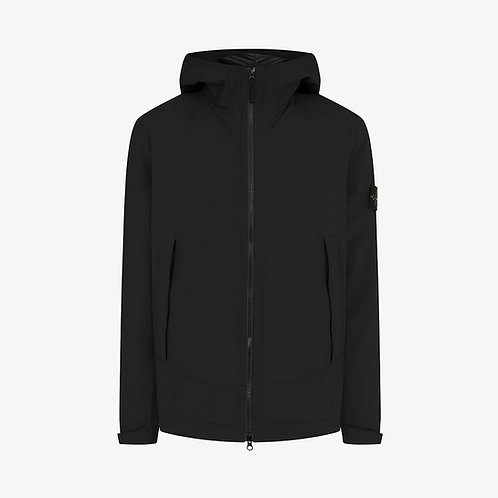 Stone Island Soft Shell-R with Primaloft Insulation Hooded Jacket - Black