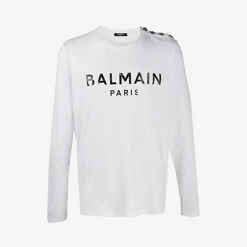 Balmain Button-Embelished Logo Print Long Sleeve T-Shirt - White