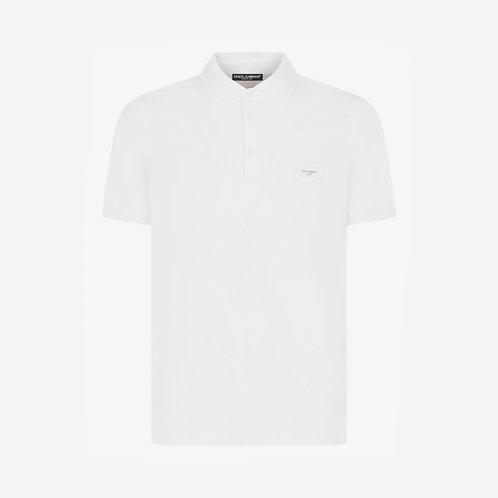 Dolce & Gabbana D&G Branded Plate Polo Shirt - White