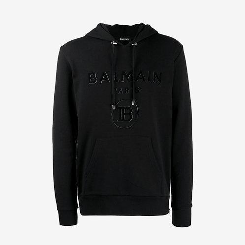 Balmain Paris Logo Hoody with Side Zips - Black