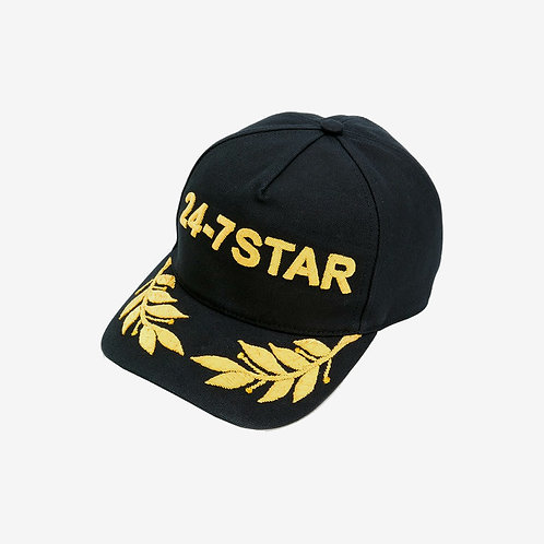Dsquared2 24-7 Star Embroidered Cap Black and Gold Hat