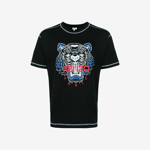 Kenzo Printed Tiger Over-Sized T-shirt with Stitching - Black