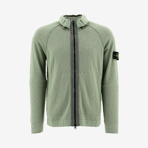 Stone Island Zip Knit Cardigan with Hidden Hood - Green