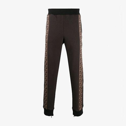 Fendi FF Logo Strip Track Pants - Brown