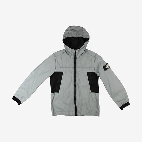 Stone Island Junior Plated Reflective Hooded Jacket- Black