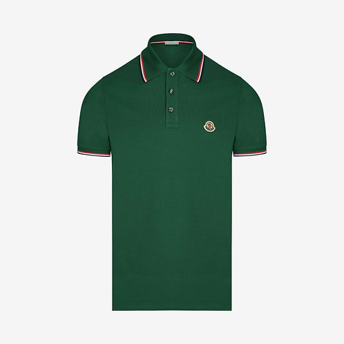Moncler Polo Shirt with Contrast Trim - Deep Jade/Green