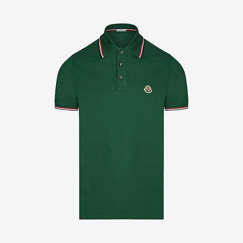 Moncler Polo Shirt with Contrast Trim - Deep Jade/Green