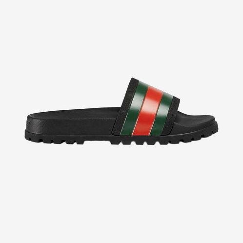 Gucci Web Slide Sandals - Black