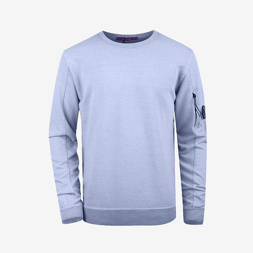 C.P. Company Garment Dyed Light Fleece Lens Sweatshirt - Pastel Blue