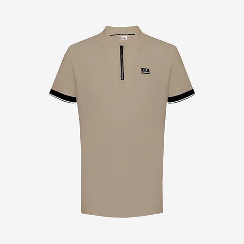C.P. Company Zip Polo Shirt with Logo Badge - Olive
