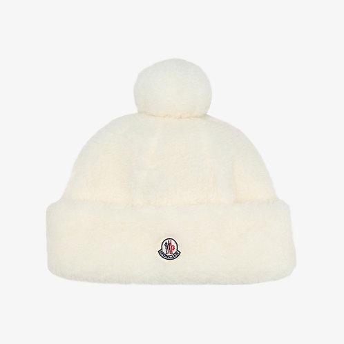 Moncler Kids Faux Fur Beanie Hat - Cream
