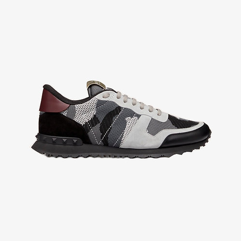 Valentino Mesh Camouflage Rockrunner Sneakers - Grey