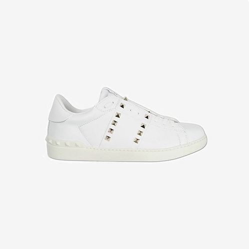 Valentino Rockstud Sneakers White Off White Gold Studs Side