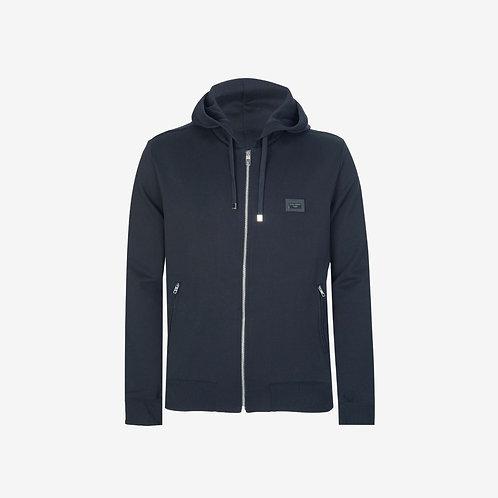 Dolce & Gabbana D&G Logo Plaque Zip Hooded Sweatshirt- Navy