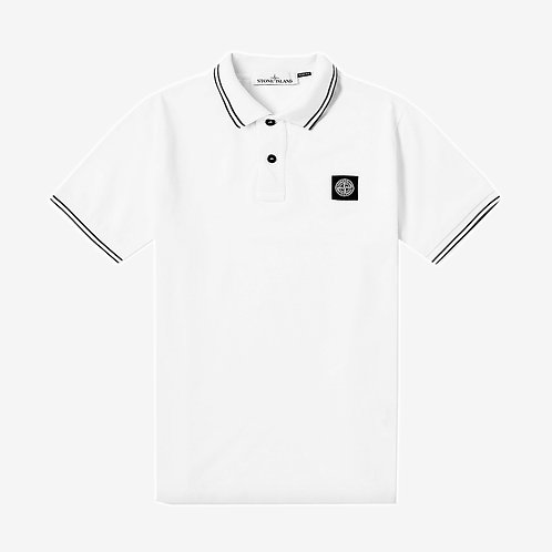 Stone Island Patch Logo Polo Shirt - White