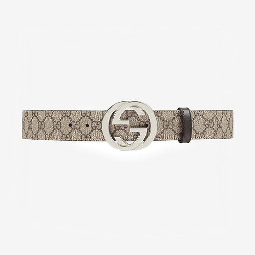 Gucci GG Supreme Belt with G Buckle - Beige/Ebony