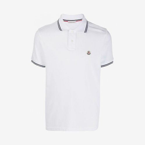 Moncler 2-Button Polo Shirt with Contrast Trim - White