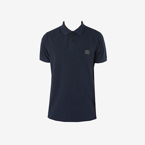 Stone Island Washed Patch Logo Polo Shirt Navy New