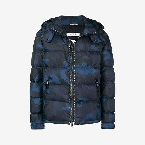 Valentino Padded Studded Jacket - Camouflage Blue