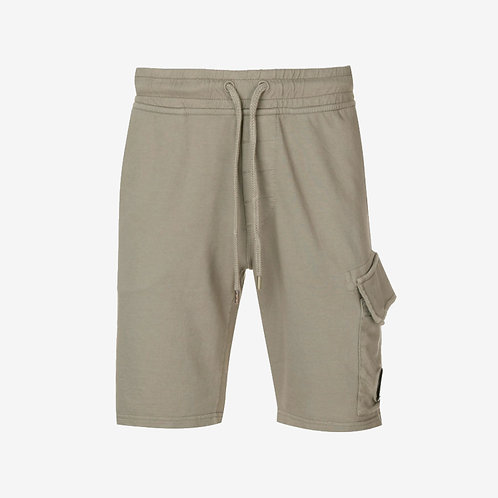 C.P. Company Light Fleece Sweat Shorts with Lens - Olive