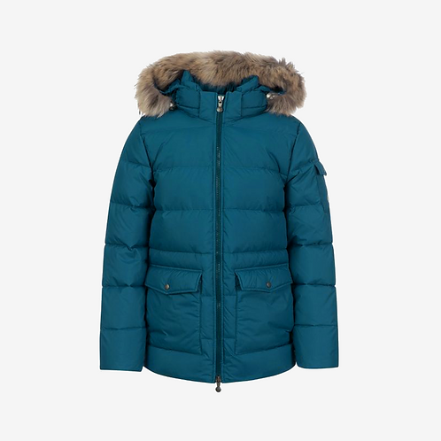 Pyrenex Authentic Mat Winter Jacket with Fur - Teal/Blue