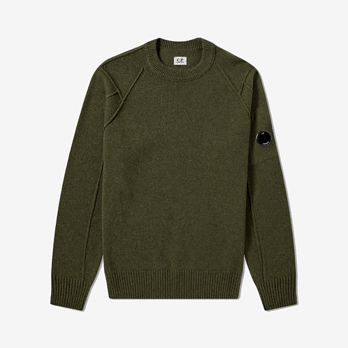 C.P. Company Arm Lens Crew Knit - Dusty Olive