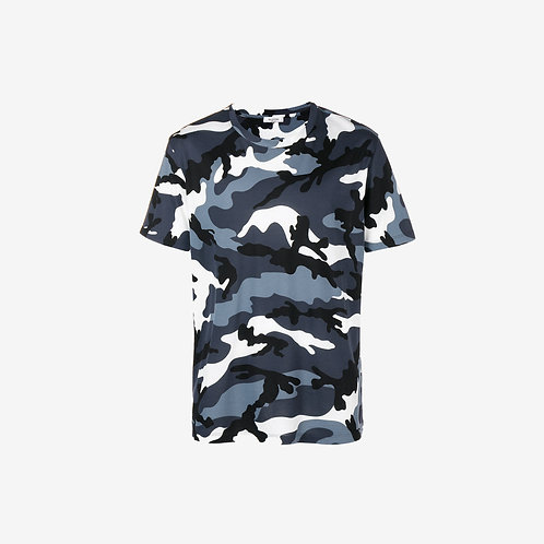 Valentino Camouflage T-shirt Grey Blue New
