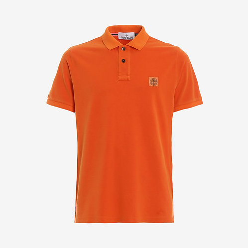 Stone Island Washed Patch Logo Polo Shirt - Orange