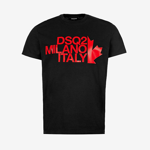 Dsquared2 DSQ2 Milano Italy Print T-Shirt - Black and Red