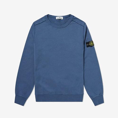 Stone Island Junior Garment Dyed Crew Sweatshirt - Avio Blue