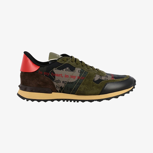 Valentino Rockrunner Sneakers with Writing Print - Green