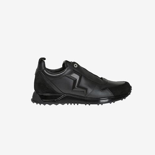 Fendi Embossed Lightning Designer Sneakers Black Side