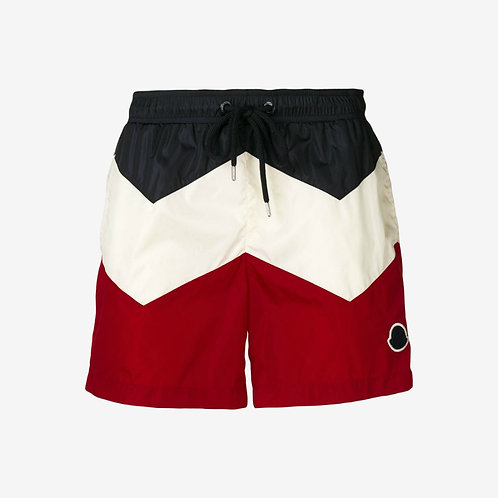 Moncler Colour Block Swim Shorts - Dark Navy, White and Red