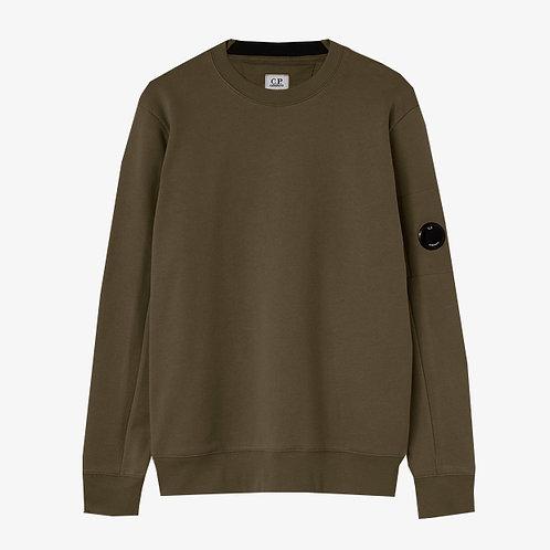 C.P. Company Diagonal Raised Fleece Lens Sweatshirt -Khaki Brown