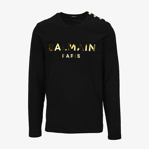 Balmain Button-Embelished Logo Print Long Sleeve T-Shirt - Black