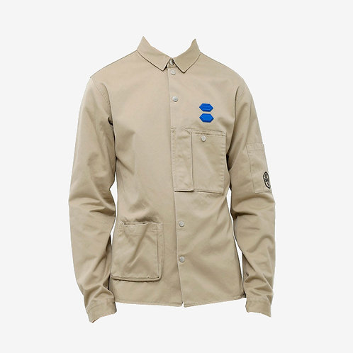 Off-White Cotton Snap Buttoned Shirt Beige