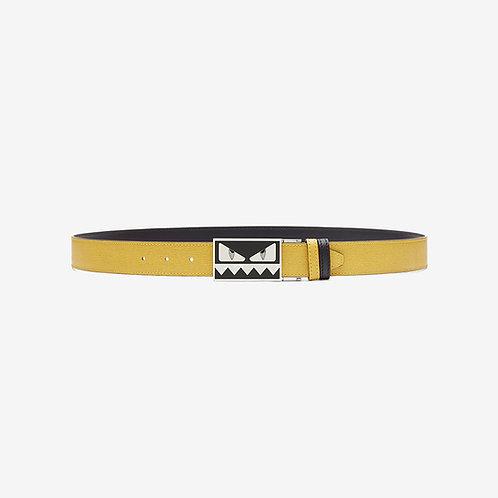 Fendi Bag Bugs Buckle Reversible Belt Black Yellow Front